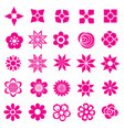 flower set icon-pink vector image vector image
