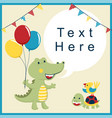 funny crocodile cartoon and friends with colorful vector image