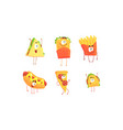 funny fast food collection shawarma sandwich vector image vector image