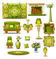 furniture green vintage style big set vector image vector image