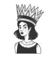 girl in huge giant royal crown sketch vector image