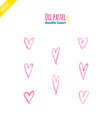 Hand drawn oil pastel hearts vector image vector image