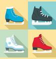 ice skates icon set flat style vector image