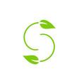 letter s green leaf logo vector image vector image