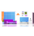 living room cartoon interior flat loft apartment vector image