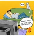 Man lying on couch watching TV comic book style vector image vector image