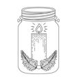 mason jar with christmas candle icon inside vector image