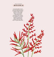 modern red realistic exotic floral wedding vector image