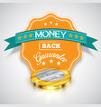 money back guarantee sticker with realistic coins vector image vector image