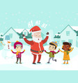 multiethnic children playing with santa claus vector image vector image