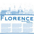 outline florence italy city skyline with blue vector image
