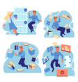 people flying in environment of information vector image