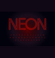 red neon font glowing tube letters set outline vector image vector image