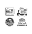 set 4 logo templates for food truck cafe vector image
