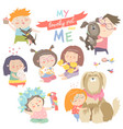 set of characters children with pets vector image vector image
