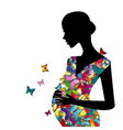stylized pregnant woman with butterflies pattern vector image vector image