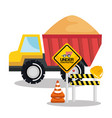 under construction tipper truck sand barricade vector image vector image