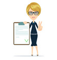 woman in suit manager or agent shows a document vector image