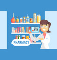 woman pharmacist demonstrating drug assortment on vector image vector image