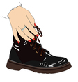 Woman with winter boot vector image vector image