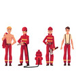 firefighter fireman in red protective suit with vector image