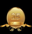 25th golden anniversary birthday seal icon vector image