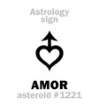 astrology asteroid amor vector image vector image