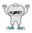 cheering tooth cartoon character with sunglasses vector image vector image