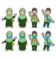 comical cartoon character moslem student kids vector image vector image