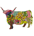 cow in the Scottish patterns vector image vector image