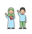 cute cartoon character moslem kids student vector image vector image
