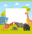 cute jungle animals with white empty banner vector image vector image