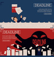 deadline and time management horizontal banners vector image vector image