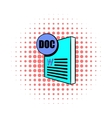 DOC file icon in comics style vector image vector image