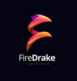 dragon fire shape logo concept design vector image