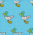 duck cartoon pattern drake drawing ornament bird vector image vector image