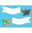 Flying vintage plane with the banner vector image vector image