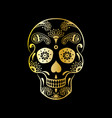 golden sugar skull with floral pattern vector image