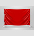 hanging empty red flag presentation or photo vector image