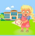 happy school girl with c grade poster vector image