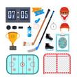 ice hockey icons set ice hockey symbols vector image vector image