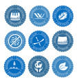icons set of fabric features collection vector image