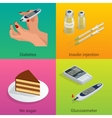 Isometric Diabetes health-care life flat concepts vector image vector image
