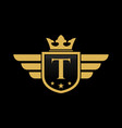 letter t shield wing vector image vector image