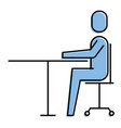 man sitting desk chair work business vector image
