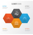 management icons set collection of cooperation vector image vector image