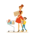 Mother And Son With Cart Shopping In Department vector image vector image