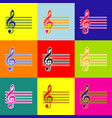 music violin clef sign g-clef pop-art vector image