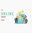 online banking landing page template tiny vector image vector image