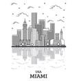 outline miami florida city skyline with modern vector image